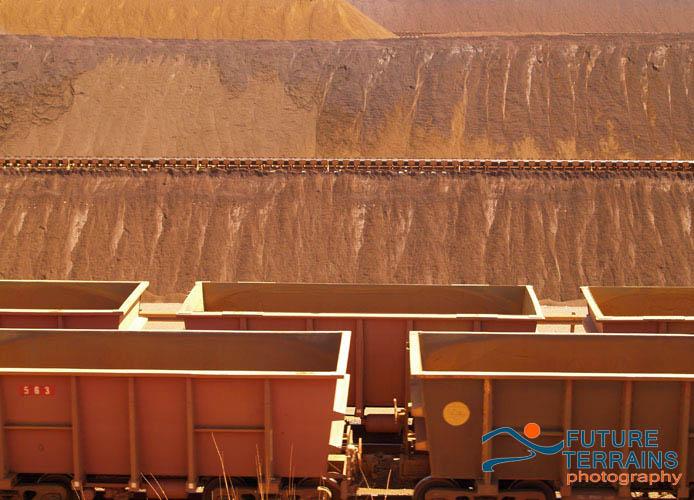 Iron ore stockyard Western Australia