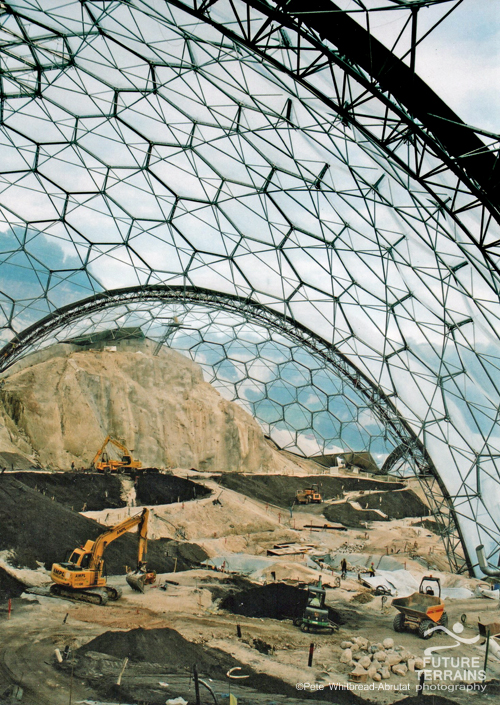 Spreading artificial soils in the newly-constructed Eden Project's Tropical Rainforest Biome, UK