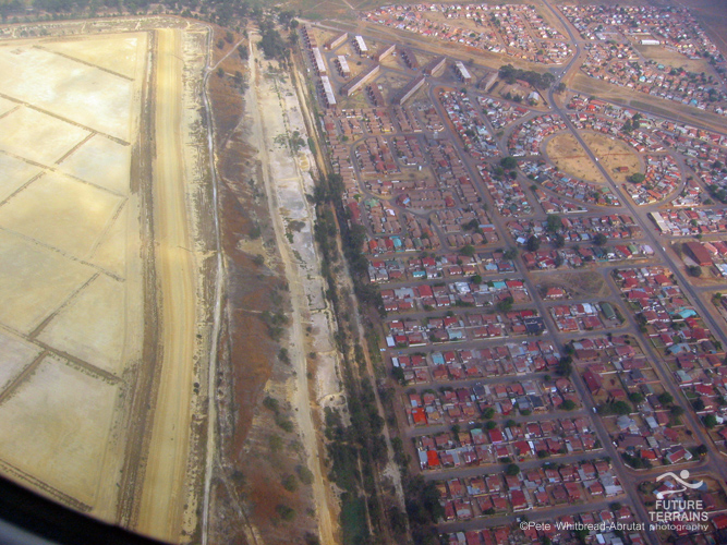 Gold tailings facility and adjacent community, Johannesburg, South Africa